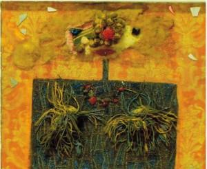 Enrico Baj.Demoiselle avec son petit chapeau sur le yeux.1959.collage su tela.cm 50 x 60.firmato e datato al retro, firmato in basso a destra.pubblicato sul catalogo generale tav.. 656 pag 104