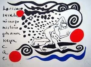 Alexander Calder ( USA 1898-1976).Los oscuro invade.1974.Gouache su carta.cm 72,39 x 99,7