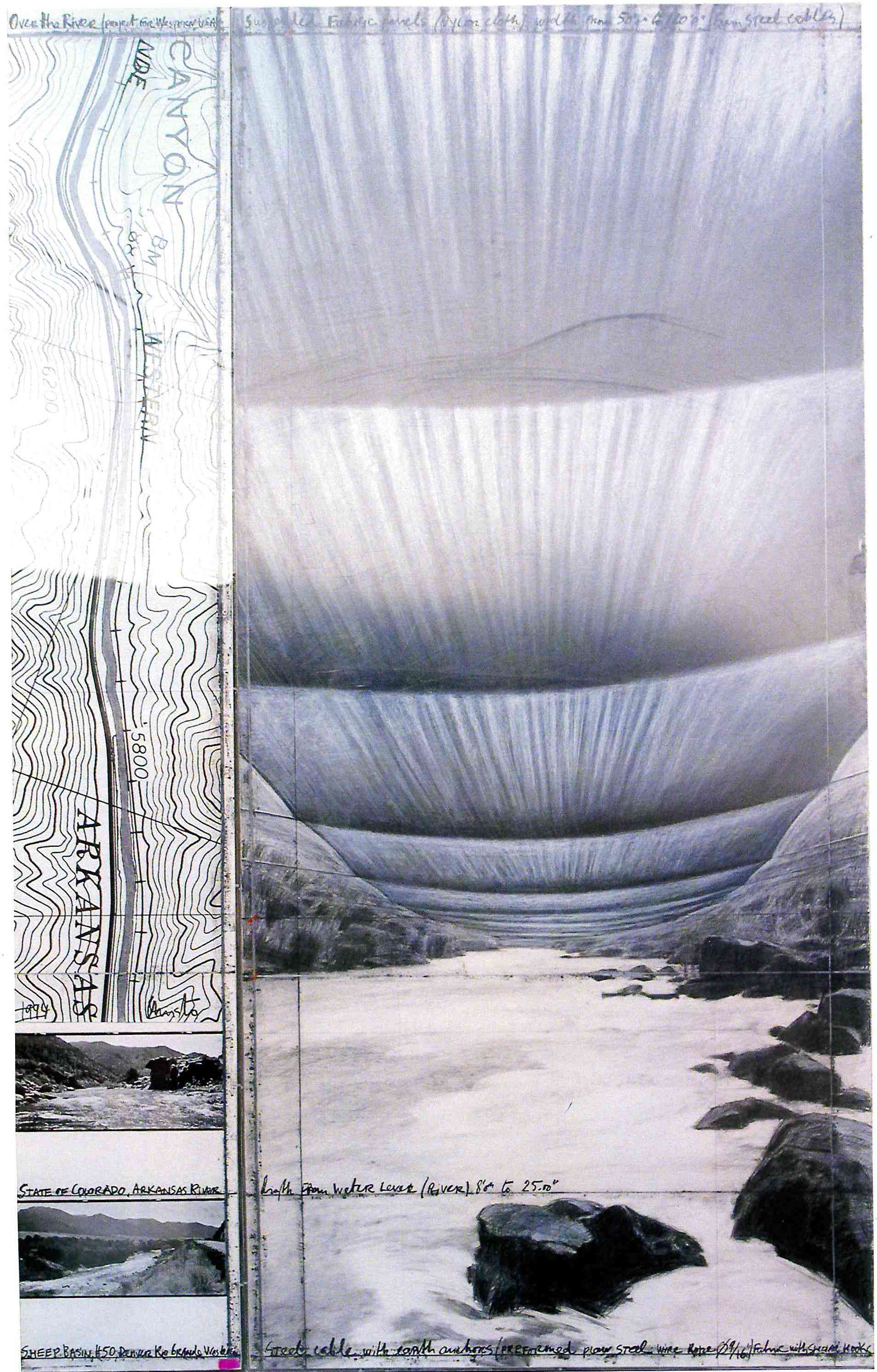 over the river.fiume Arkansas, Colorado USA.lavoro in itinere.1994.disegno matita, carboncino, pastello. Opera in due parti. cm 244x38 e cm 244x106,5