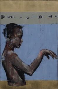 1121. Che ritrarrà la mente che non erra. oil and mixed media on canvas. 76 x 51 cm. that thought will now unfailingly relate