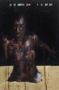 1122. da le fatiche loro; e io sol uno. Oil and mixed media on canvas. 76 x 51 cm. From their labour, and I, alone