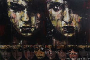 1123. Ho io grazie grandi apo te?. oil and mixed media on ten canvas panels. 122 x 82 cm. Yes! Was it good for you?!!