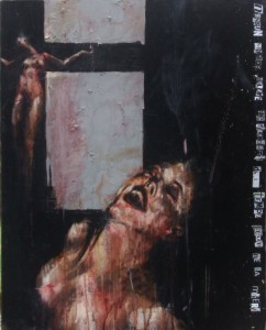 1187. non c'è peggior dolore che ricordarsi del tempo felice nella miseria. oil and mixed media on canvas. 76 x 61 cm. 2010. There is no greater sorrow than to be mindful of the happy time in misery