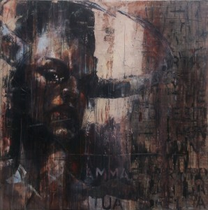 1117. Vid' io lo Minotauro far cotale. oil and mixed media on canvas. 91 x 91 cm. The Minotaur, I saw, behaved like that