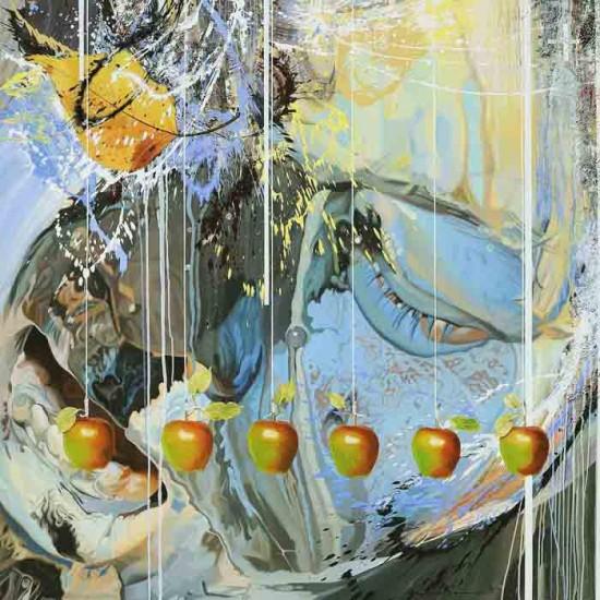 Apel Dedresi San Daun. 2005. cm 180x180. Olio su tela - oil on canvas. Opera pubblicata sul catalogo della mostra 'Aseantour' Museo Magi 900, gennaio 2010
