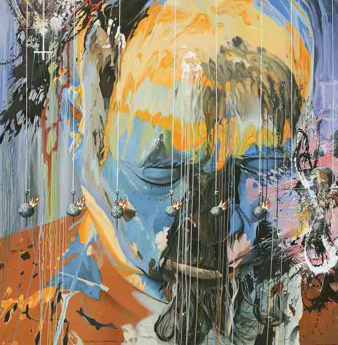 Api Depresi Dan Batu. 2005. cm 180x180. Olio su tela - oil on canvas. Opera pubblicata sul catalogo della mostra 'Aseantour' Museo Magi 900, gennaio 2010