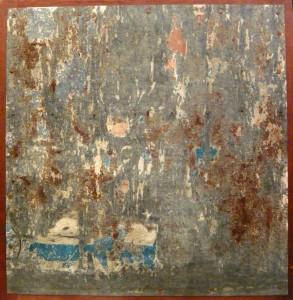 Raymond Hains.Tòle.1976.cm 75 x 77.decollage su lamiera
