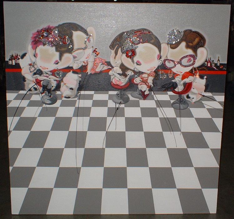 HAPPY HOUR.HAN YAJUAN.2009.cm 150 x 150.olio su tela - oil on canvas