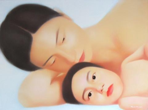 SISTER.MA LIUMING.2003.cm 150 x 200.olio su tela - oil on canvas