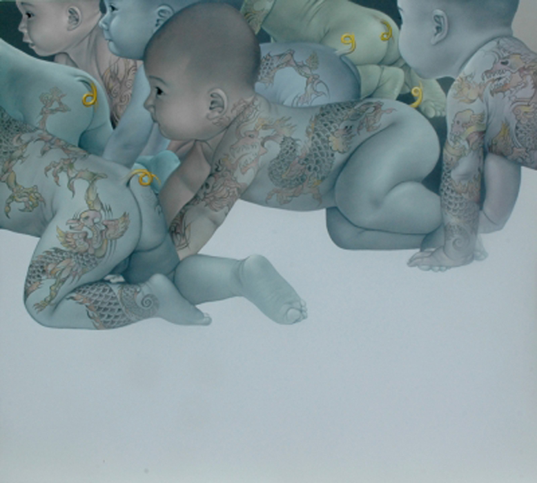 THE YELLOW TAIL. 2009. cm 180 x 200. olio su tela - oil on canvas