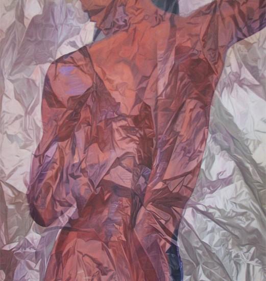 """WRAPPED MASCULINITY. 2009. cm 200 x 150. olio su tela - oil on canvas. opera pubblicata sul catalogo della mostra """"Aseantur"""" museo Magi900, gennaio2010"""