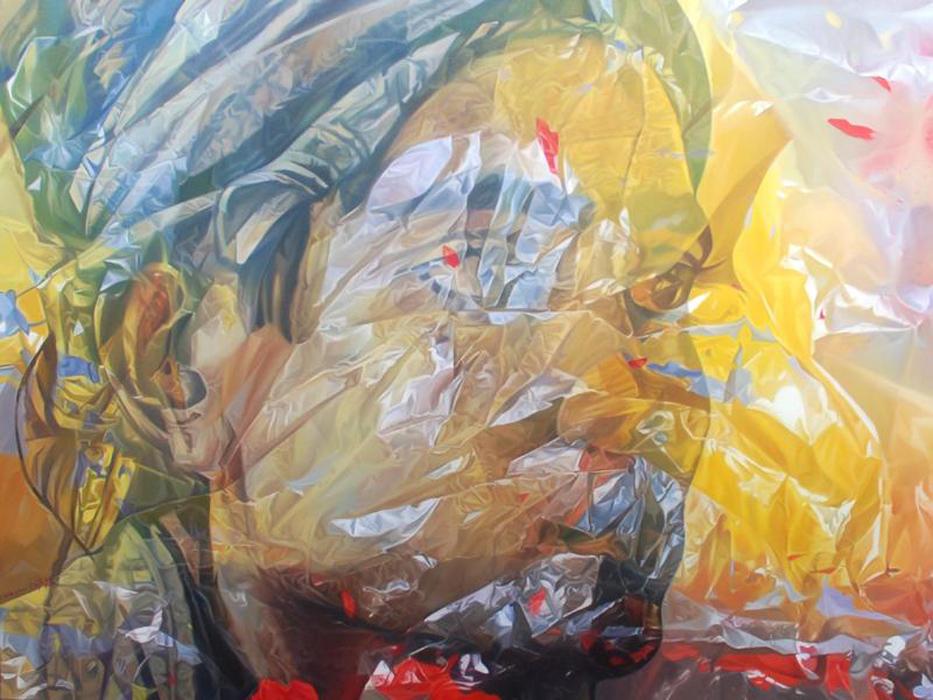 """WRAPPING THE PAST. 2009. cm 150 x 200. olio su tela - oil on canvas. pubblicato sul catalogo della mostra """"aseantour"""" museo Magi900, gennaio 2010"""