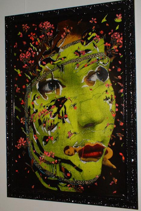 DRESSED UP TO PARADISE.J..SUPINE.1979.cm 100x150.tecnica mista e collage su tela - acrilic and collage on canvas
