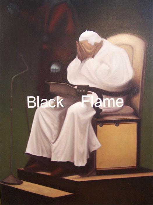 """BLACK FLAME. WIRE TUAZON.2009. """"Higher beings command, man decides"""".cm 200 x 150. olio su tela - oil on canvas.opera esposta e pubblicata sul catalogo della mostra """"Aseantour"""", gennaio 2010 al museo Magi 900."""