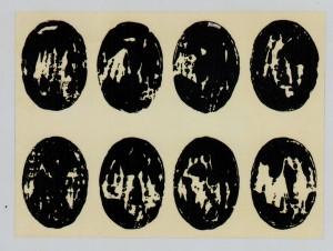 Turi Simeti. .8 ovali neri.1964. smalto su carta cm 70 x 100