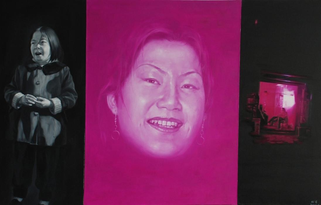A ( prostituta e la sua infanzia). 2008. cm 350 x 200. trittico - olio su tela - oil on canvas