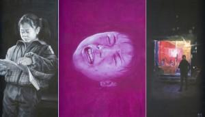 B (prostituta e la sua infanzia). 2008. cm 350x200. trittico - olio su tela - oil on canvas