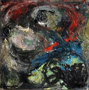 Karel Appel.Figura.1962.olio su tela applicata su tavola.cm 30 x30